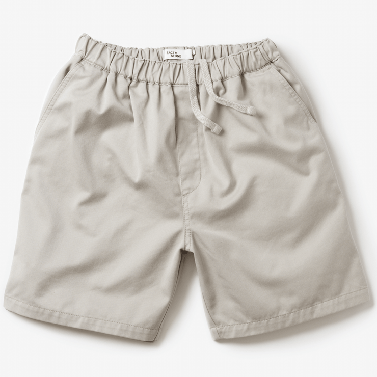 Front facing flat lay of khaki colored, drawstring waistband, shorts.