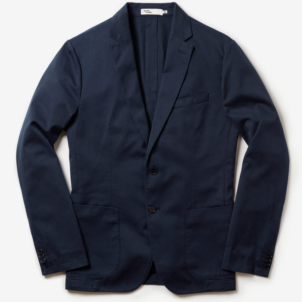 Front facing flat lay, of sustainable navy blazer