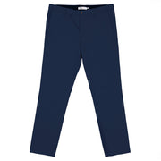 Front facing flat lay of navy, sustainable chinos.