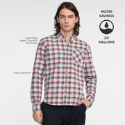 Model front facing wearing a long sleeve, plaid, button up shirt. Iconography explaining the sustainability benefits of the shirt.