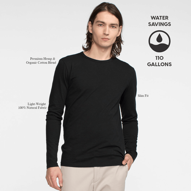 Model front facing wearing a long sleeve, black tee. Iconography explaining the sustainability benefits of the tee shirt.