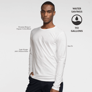 Model front facing wearing a long sleeve white tee shirt. Iconography explaining the sustainability benefits of the tee shirt.
