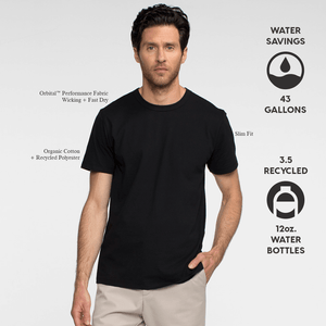 Model front facing wearing sustainable, performance black tee shirt. Iconography explaining sustainable savings for this product.