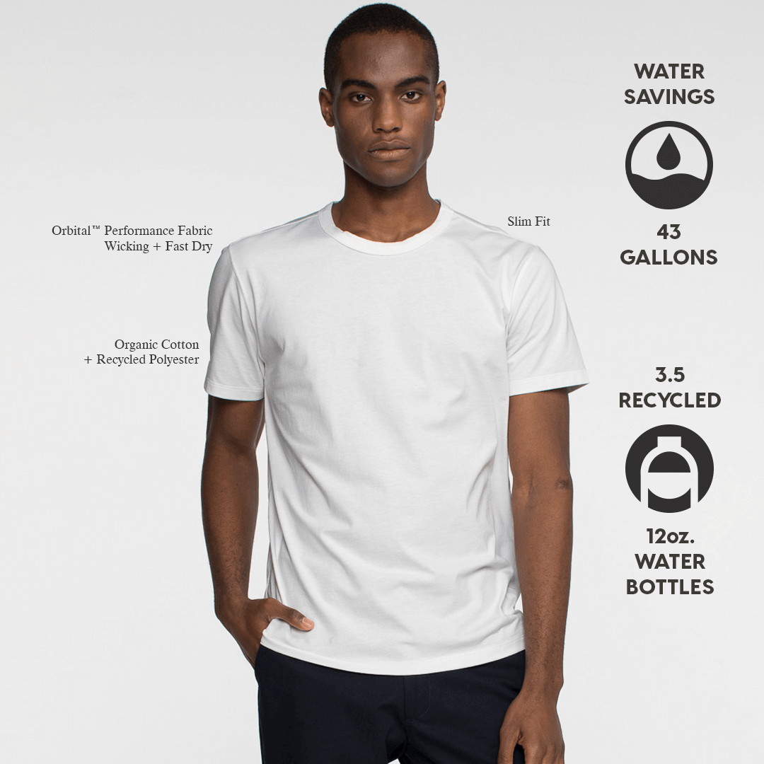 Model front facing wearing sustainable, performance white tee shirt. Iconography explaining sustainable savings for this product.