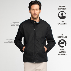 Model front facing wearing a black zip up blouson jacket. Iconography explaining the sustainability benefits of the jacket.