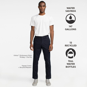 Model front facing highlighting navy performance chinos. Iconography explaining the sustainability benefits of this product. Sustainable, performance chinos.