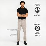 Model front facing highlighting khaki colored chinos. Iconography explaining the sustainability benefits of this product. Sustainable, performance chinos.
