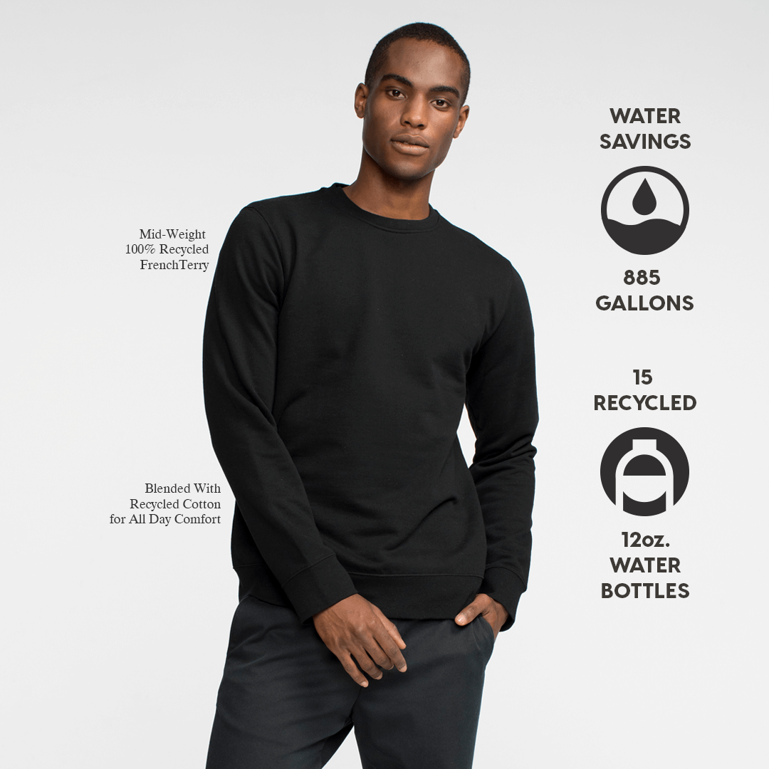 Model front facing wearing a black, sustainable, crewneck sweatshirt. Iconography explaining the sustainability benefits of the sweatshirt.