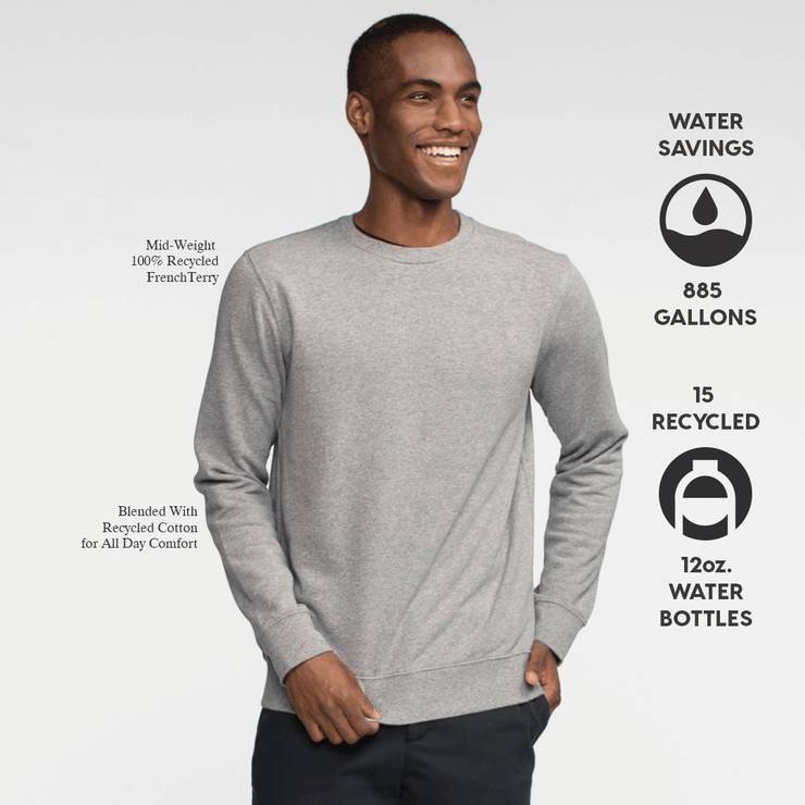 Model front facing wearing heather grey crew neck sweatshirt. Iconography explaining the sustainability benefits of the sweatshirt.