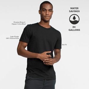 Model front facing wearing a short sleeve, black tee shirt. Iconography explaining the sustainability benefits of the tee shirt.