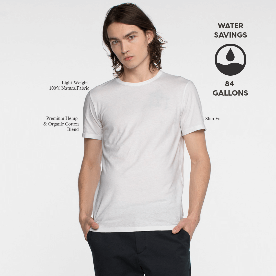 Model front facing wearing a short sleeve, white tee shirt. Iconography explaining the sustainability benefits of the tee shirt.