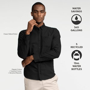Model front facing wearing a long sleeve, black, oxford shirt. Iconography explaining the sustainability benefits of the shirt.