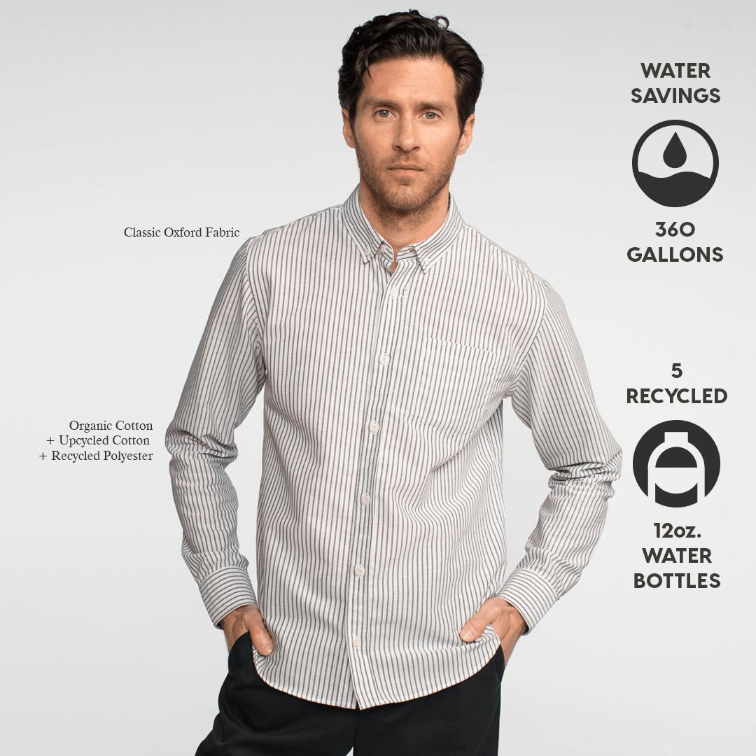 Model front facing wearing a long sleeve, striped oxford shirt. Iconography explaining the sustainability benefits of the shrit.
