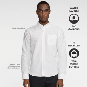 Model facing front wearing a long sleeve, white, oxford shirt. Iconography explaining the sustainability benefits of the shirt.