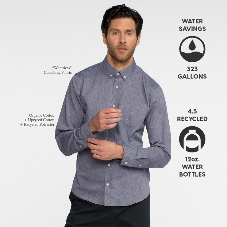 Model front facing wearing a long sleeve, chambray, button up shirt. Iconography explaining sustainability benefits of the shirt.