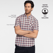 Model front facing with his arms crossed, wearing a short sleeve, plaid, button up shirt. Iconography explaining the sustainability benefits of the shirt.