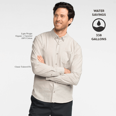Model front facing with his arms crossed, wearing a long sleeve, heather grey, button up shirt. Iconography explaining the sustainability benefits of the shirt.