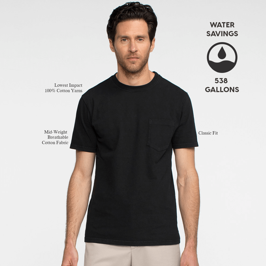 Model facing forward wearing a black, short sleeve, pocket tee shirt. Iconography explaining the sustainability benefits of the tee shirt.