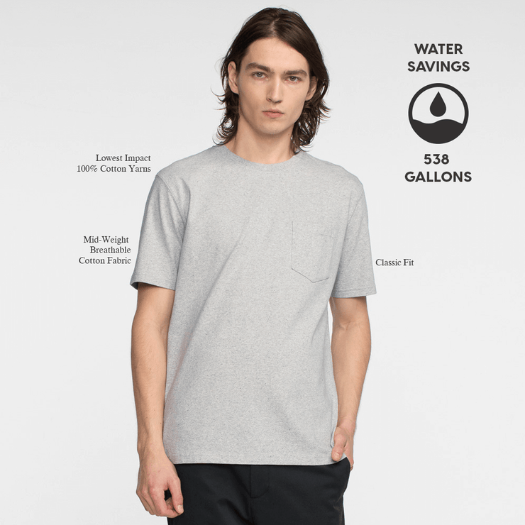 Model front facing wearing a heather grey, short sleeve, pocket tee. Iconography explaining the sustainability benefits of the tee shirt.
