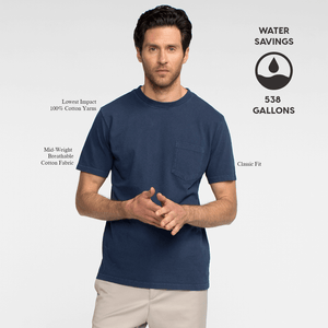 Model front facing wearing a navy, short sleeve, pocket tee shirt. Iconography explaining the sustainability benefits of the tee shirt.