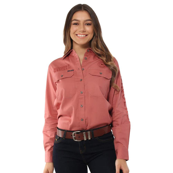 Ringers Western Jillaroo Wmns Work Shirt Canyon Rose