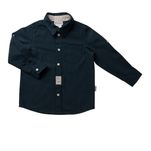 Love Henry Kids Gingham Shirt Navy/Teal