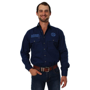 Ringers Western Hawkeye Mens Shirt Navy/Blue