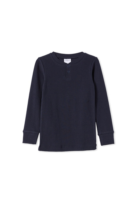 Milky Kids Rib Henley French Navy