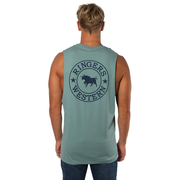 Ringers Western Signature Bull Mens Muscle Tank Sea Green w Midnight