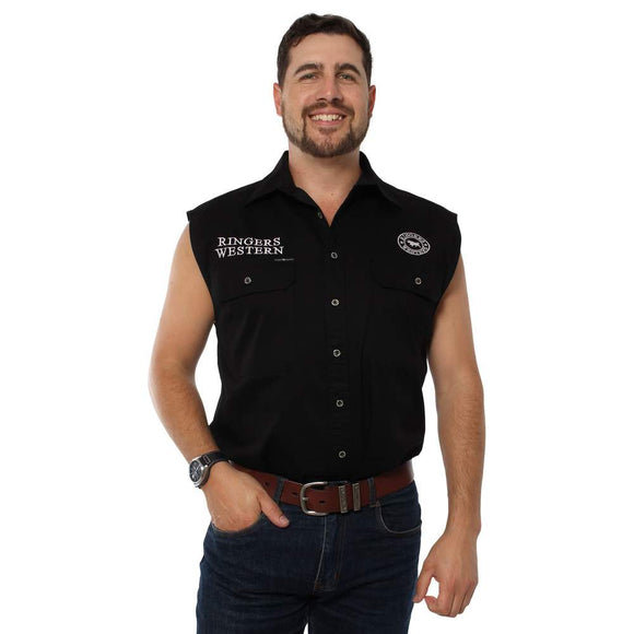 Ringers Western Hawkeye Mens Sleeveless Shirt Black