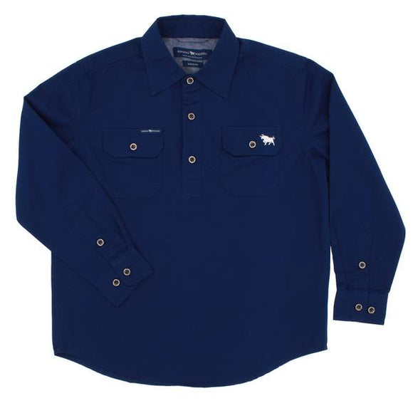 Ringers Western Ord River Kids Work Shirt Navy