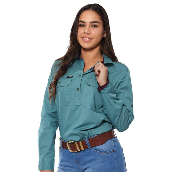 Ringers Western Pentecost River Wmns 1/2 Button Shirt Dusty Jade
