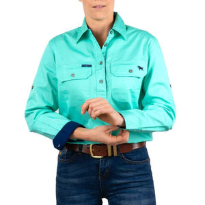 Ringers Western Pentecost River Wmns 1/2 Button Shirt Mint