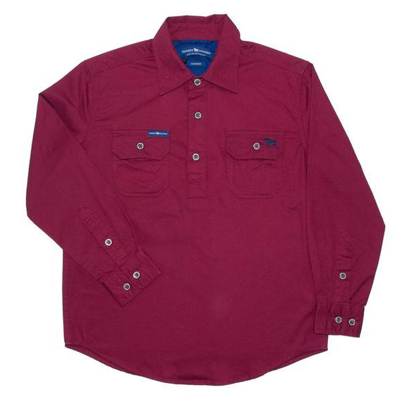 Ringers Western Ord River Kids Work Shirt Burgundy