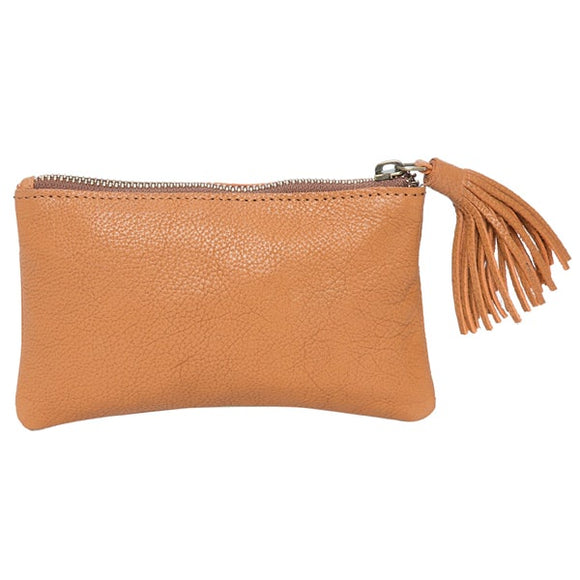 The Design Edge York Grain Leather Small Tassel Cowhide Clutch