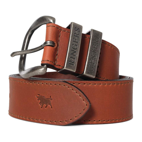 Ringers Western James Belt Australian Made Tawny Brown & Silver