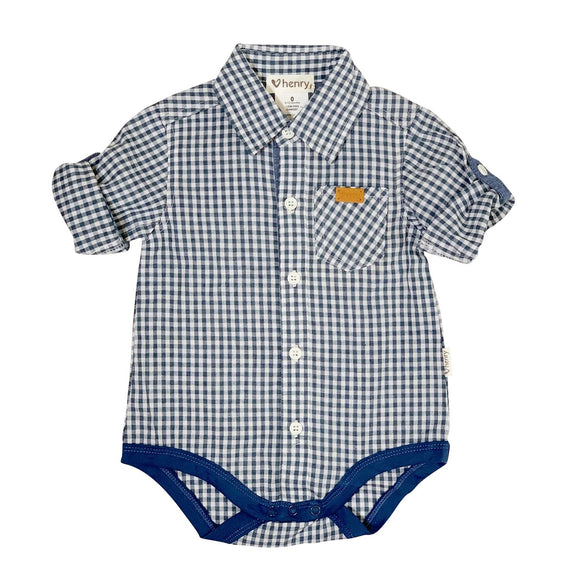 Love Henry Baby Boys Shirt Romper Dusty Blue Gingham