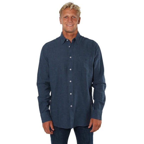 Ringers Western Glenmorgan Mens Relaxed Linen Dress Shirt Steel Blue