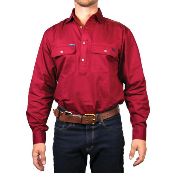 Ringers Western King River Mens 1/2 Button Shirt Burgundy