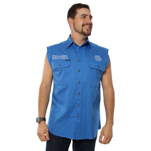 Ringers Western Hawkeye Mens Sleeveless Shirt Blue