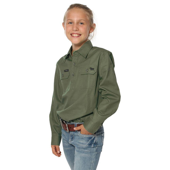 Ringers Western Ord River Kids Work Shirt Dark Khaki