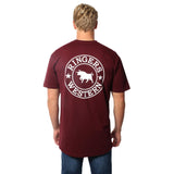 Ringers Western Signature Bull Mens Original Fit Tee Burgundy & White