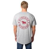 Ringers Western Signature Bull Mens Original Fit Tee Grey Marle & Burgundy