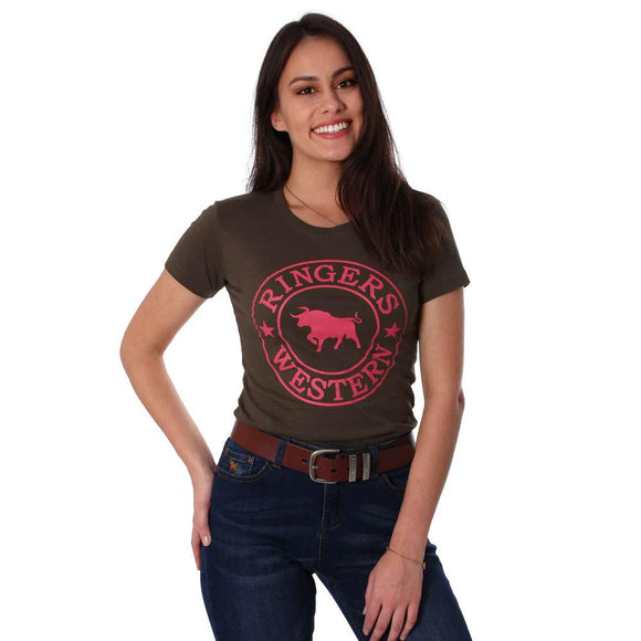 Ringers Western Curl Curl Wmns Tee Military Green
