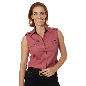 Ringers Western Pentecost River Wmns Sleeveless Work Shirt Dusty Rose