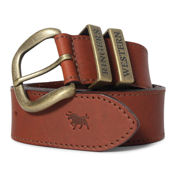 Ringers Western James Belt Australian Made Tawny Brown & Gold