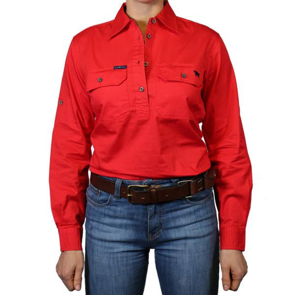 Ringers Western Pentecost River Wmns 1/2 Button Shirt Red
