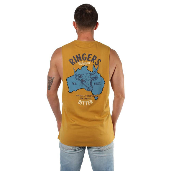 Ringers Western Limited Edition Mens Muscle Tank Ringers Bitter on Mustard Yellow