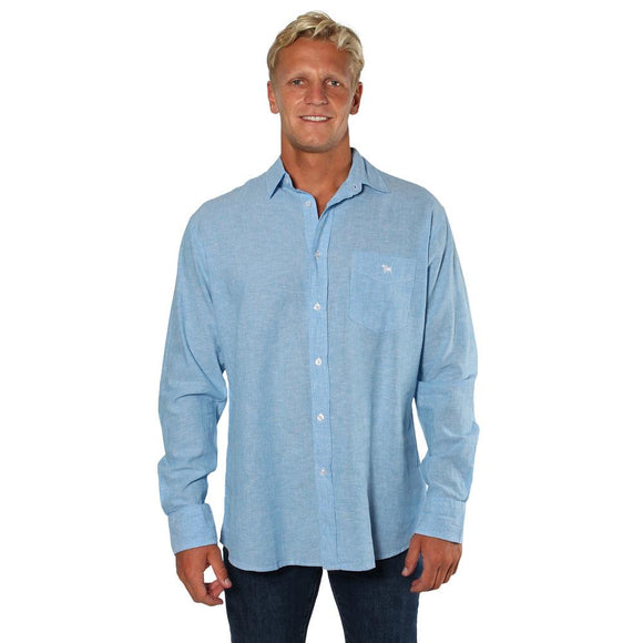 Ringers Western Glenmorgan Mens Relaxed Linen Dress Shirt Chambray Stripe