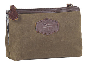 Travel Bag 2 Pocket Brown Canvas
